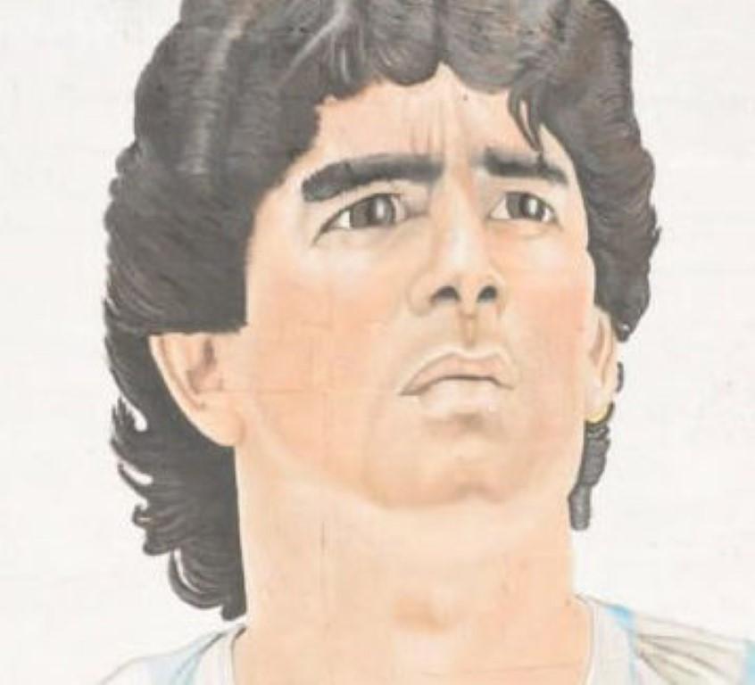 Murales di Maradona all'interno carcere di Trapani