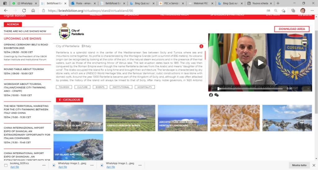 Domani Pantelleria incontra la Cina alla Belt&Road Exhibition