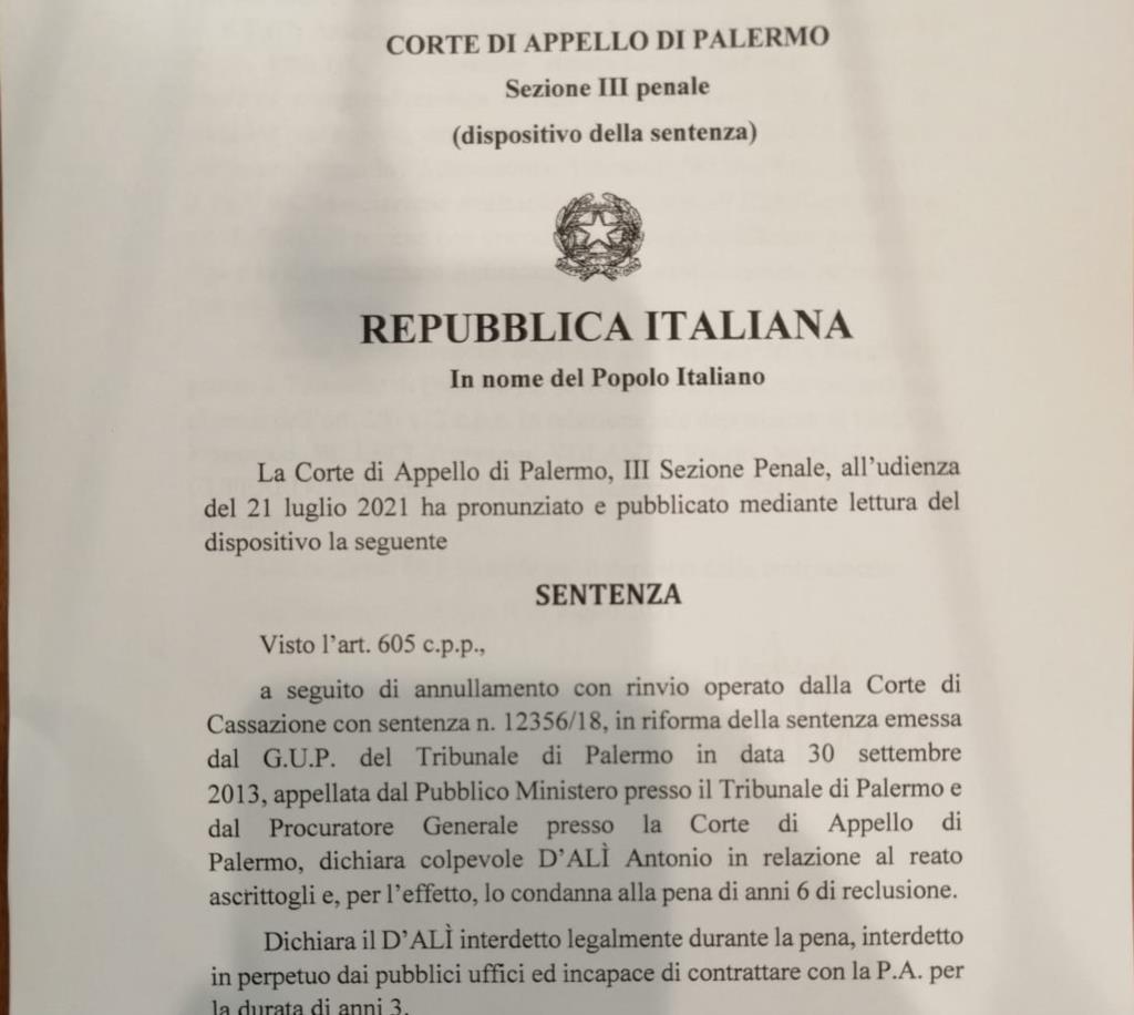 Concorso esterno in associazione mafiosa: D'Alì condannato a 6 anni