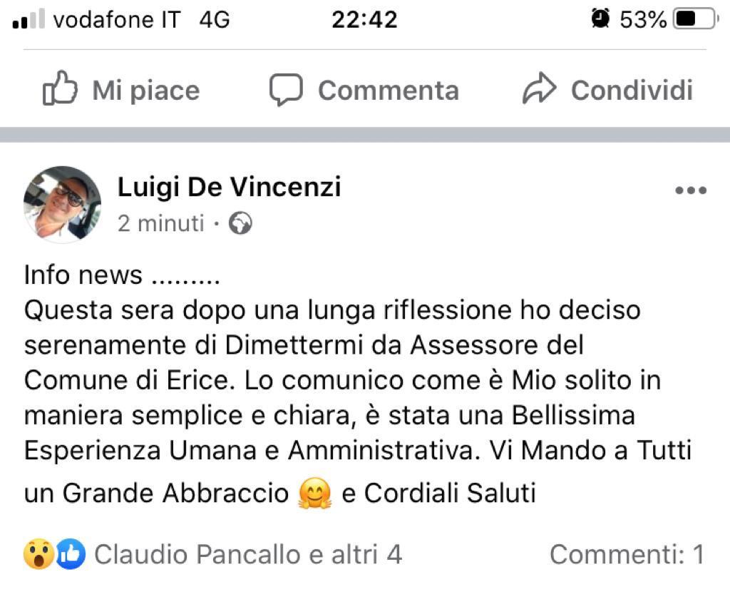 Erice, si dimette l'assessore Luigi De Vincenzi, anche Cives ritira l'assessore