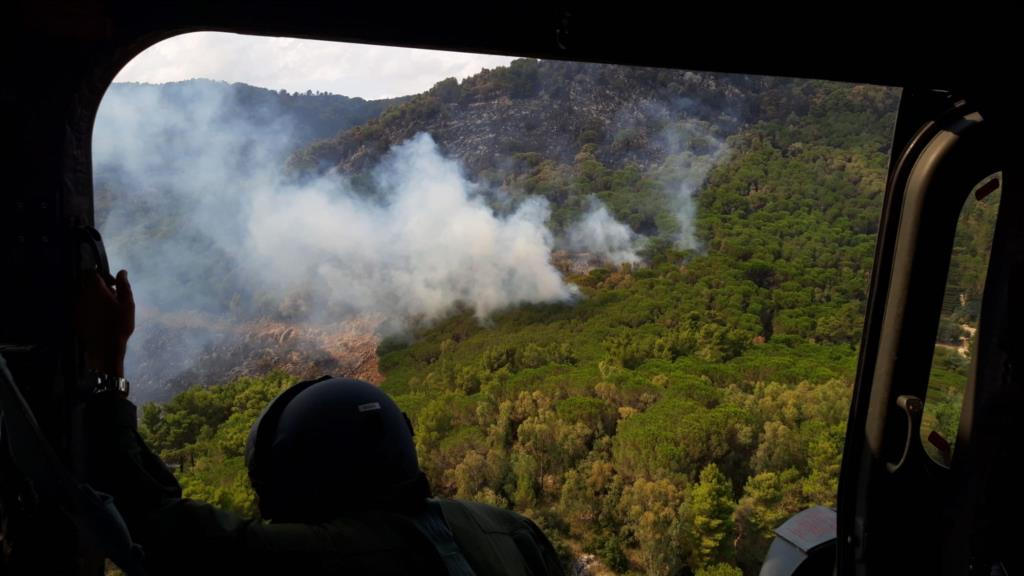 Primo intervento antincendio dell'82° Centro Csar nel palermitano