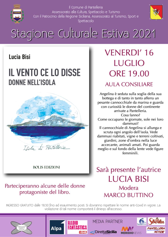 Pantelleria: venerdì Lucia Bisi presenta il suo libro  'Il vento ce lo disse'