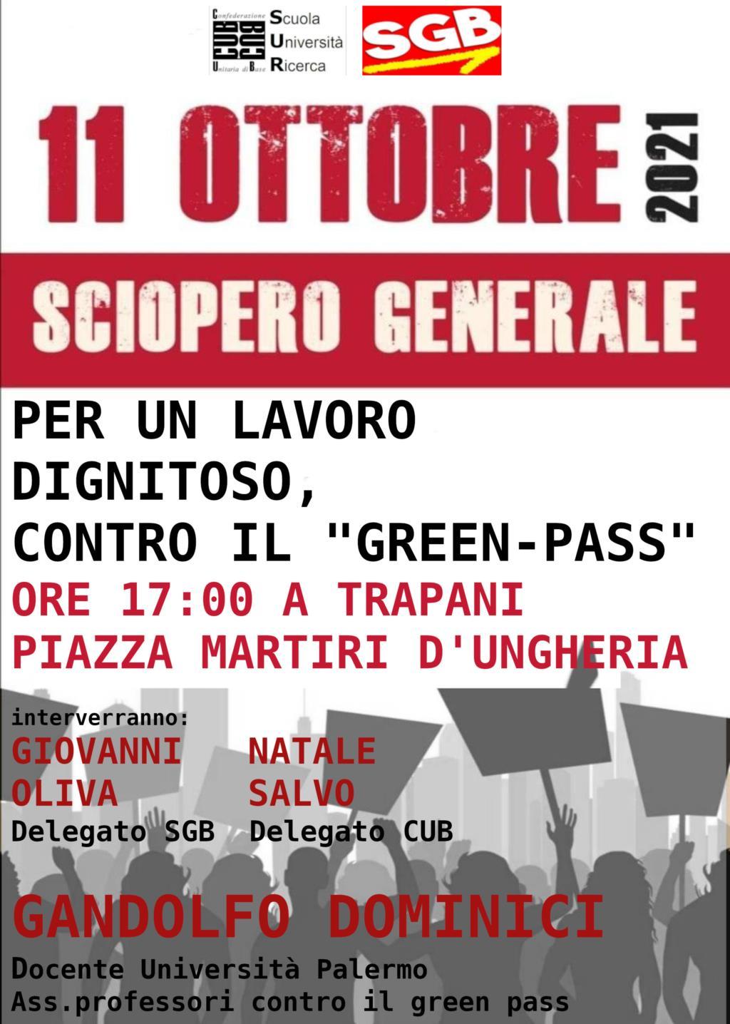 Per un lavoro dignitoso contro il Green pass, manifestazione a Trapani
