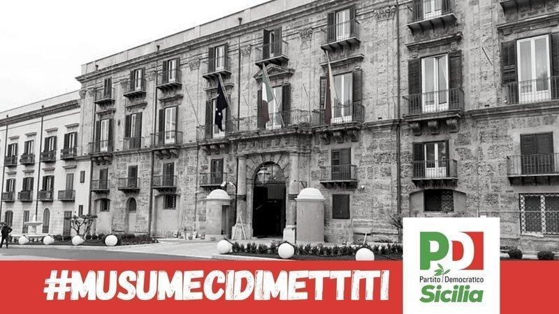 Il Pd Sicilia avvia una raccolta firme per chiedere le dimissioni del presidente Musumeci