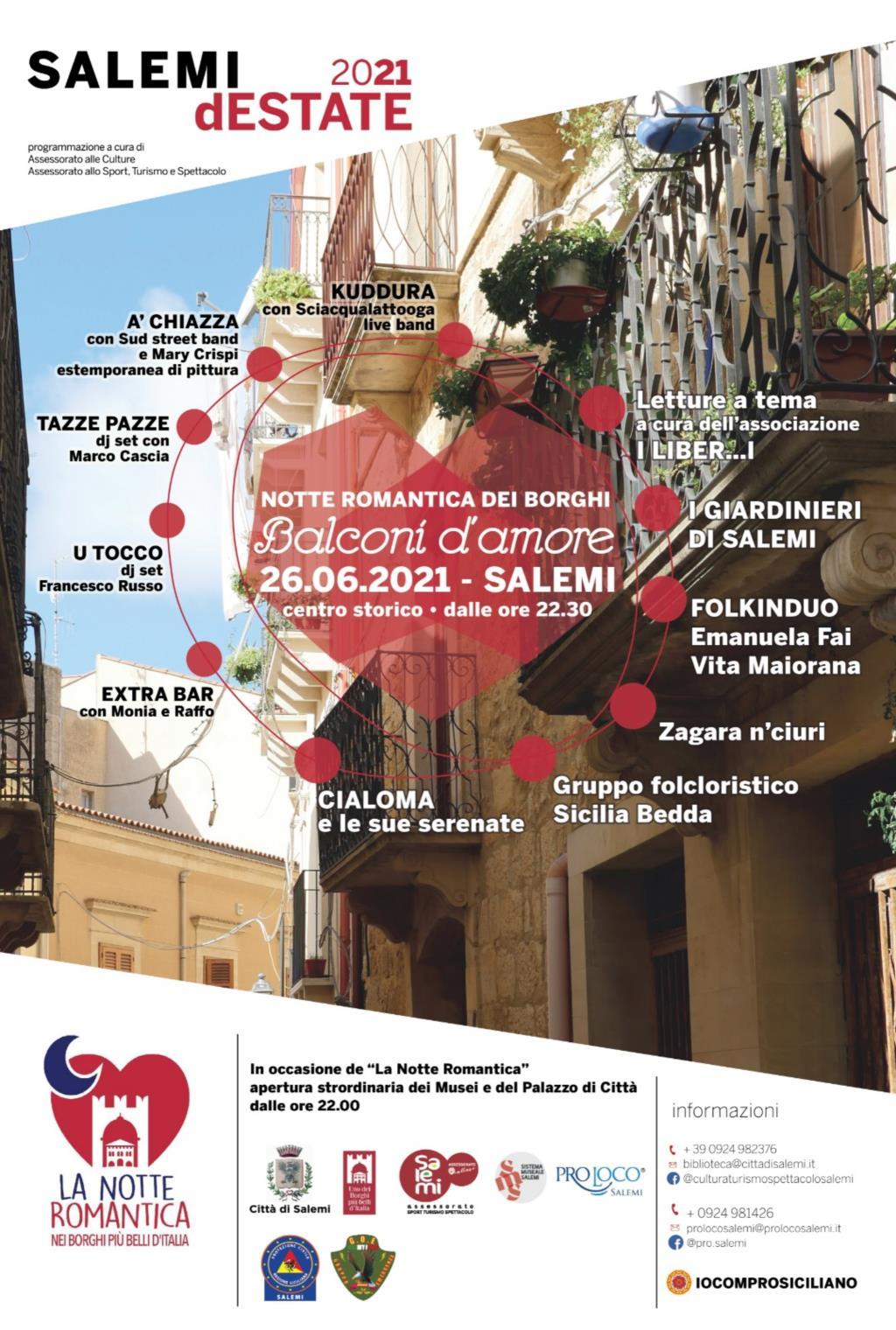 Salemi, sabato torna Balconi d'amore-Notte romantica dei Borghi