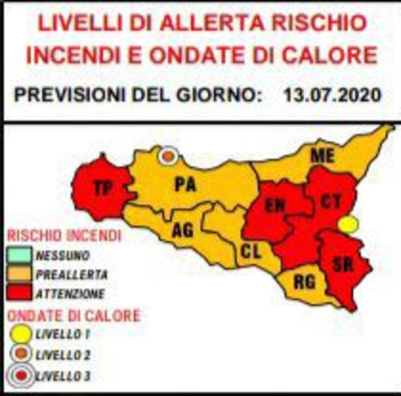 Allerta rossa della protezione civile: rischio incendi e ondate di calore