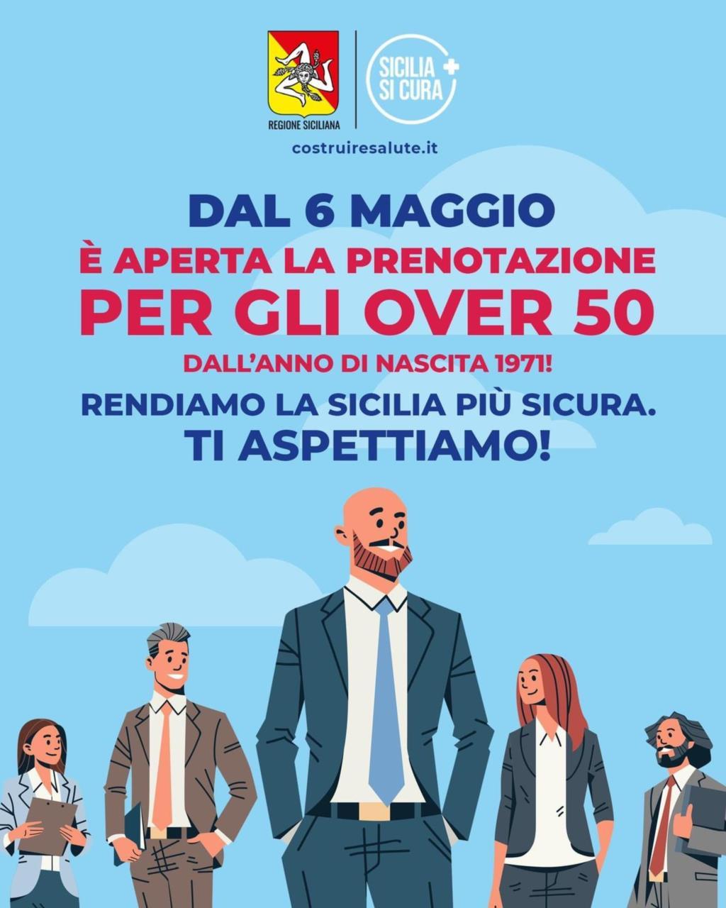 Sicilia, da oggi vaccini anti Covid anche per i 50enni. Ecco come fare.