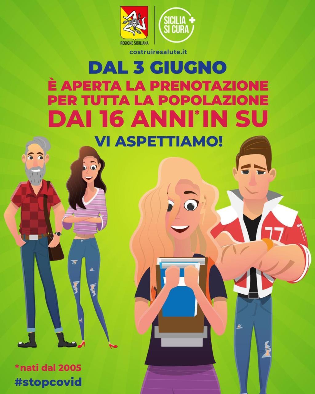 Vaccini, da domani in Sicilia le prenotazioni per gli over 16
